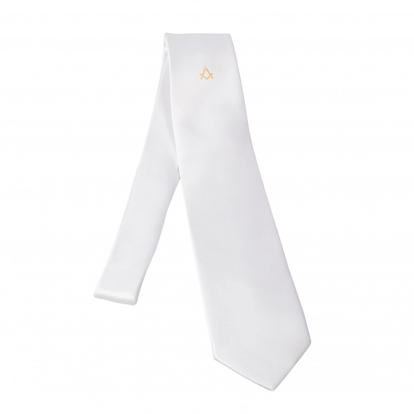 Tie white with Square & Compasses