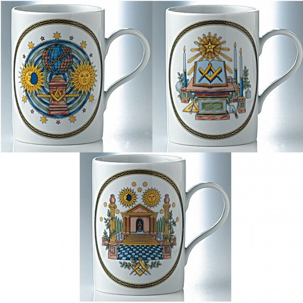 Set of 3 mugs THE 3 DEGREES with chain