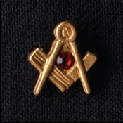 Lapel Pin Square & Compass ruby