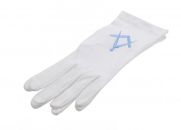 Cotton gloves Square & Compasses light blue