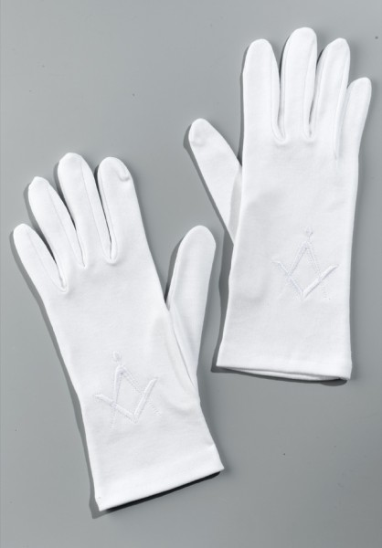Cotton gloves Square & Compasses white